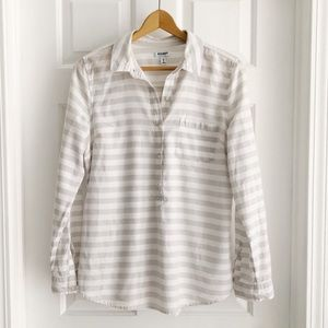 Old Navy Striped Pullover Collared Shirt
